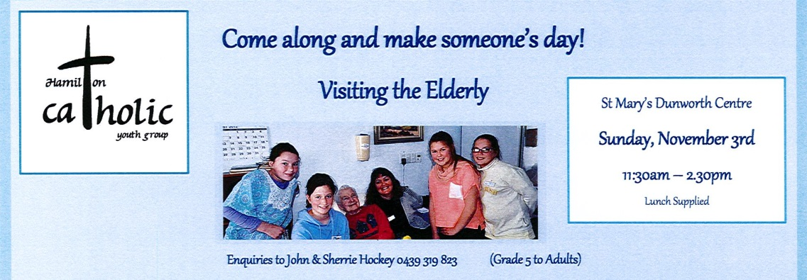 Youth Group – Visiting the Elderly – Sunday, Nov 3rd